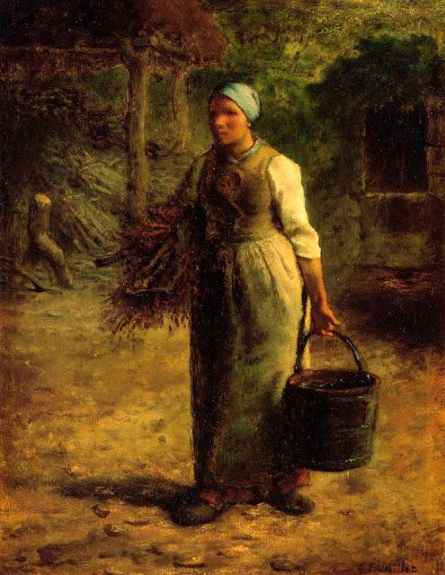 Жан Франсуа Милле - Женщина несет дрова и ведро. 1860