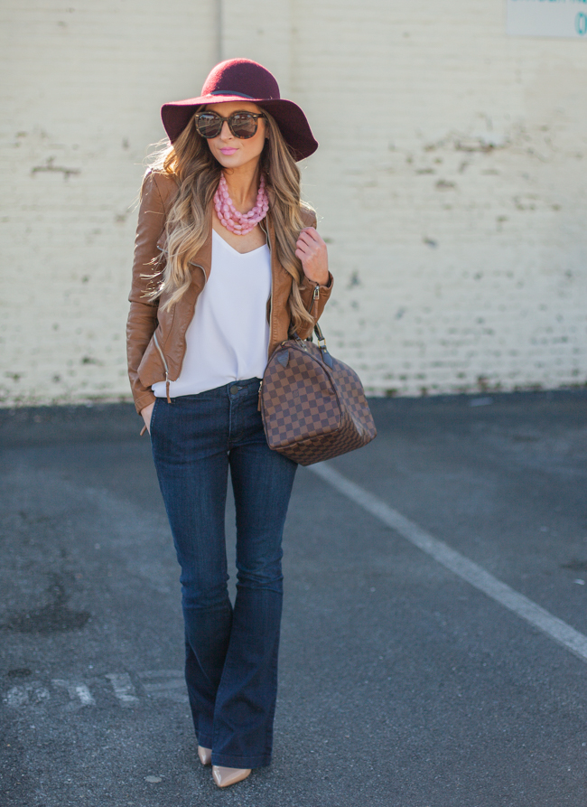 blank nyc leather jacket with flared jeans