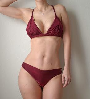 maroon reversible print bikini bottom