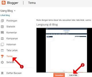 Klik tema dan klik edit html
