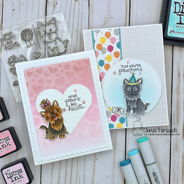 Duo of Dog Cards by Tina Herbeck | Terrific Terriers Stamp Set, Tumbling Hearts Stencil, Heart Frames Die Set, Frames & Flags Die Set and Circle Frames Die Set by Newton's Nook Designs #newtonsnook