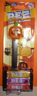 Front of Angry Pumpkinhead PEZ still in package