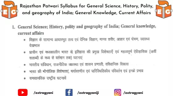 Rajasthan Patwari Syllabus for General Science, History, Polity, and geography of India; General Knowledge, Current Affairs