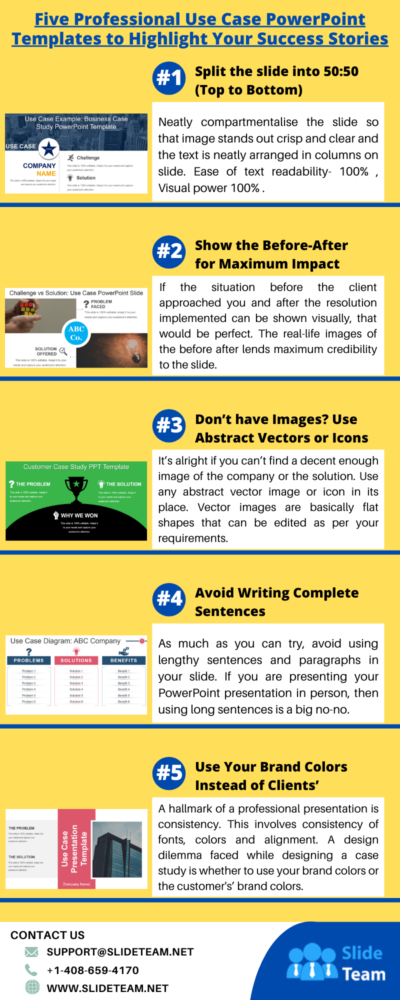 Five-professional-use-case-powerpoint-templates-to-highlight-your-success-stories #infographic #Design & Research