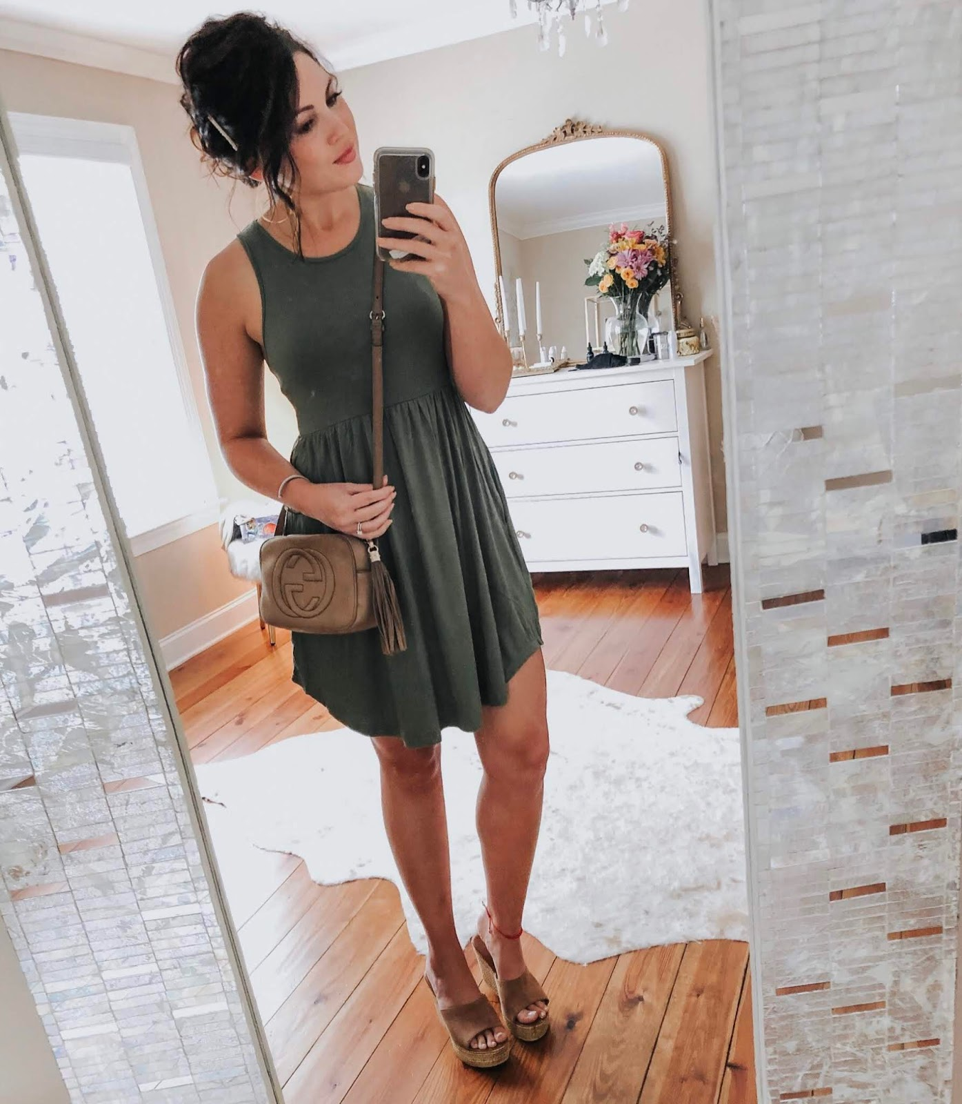 amazon fashion, budget fashion, summer style, blogger style, maxi dress, tank dress, knotted maxi dress, lv speedy, Gucci soho disco, xo Samantha Brooke, life and messy hair, nc blogger