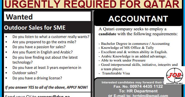 Accountant/Sales Job Vacancy In Qatar « Job Hunterfb