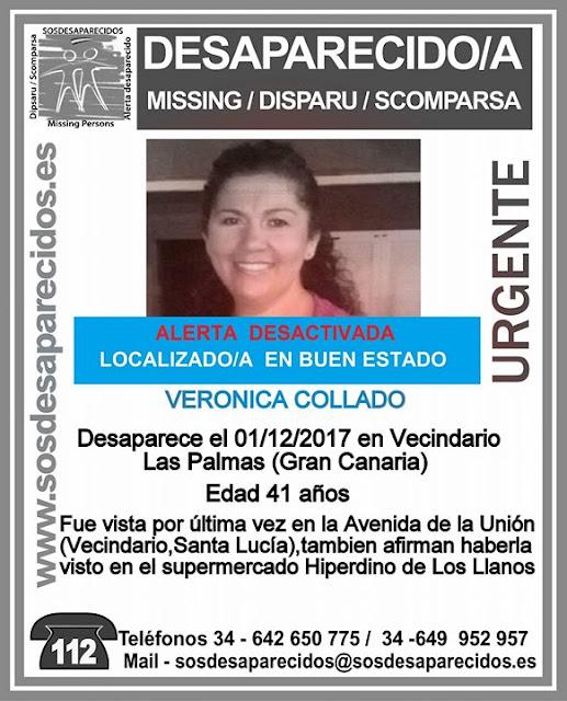 Localizada Buen estado mujer desaparecida Vecindario  Verónica Collado