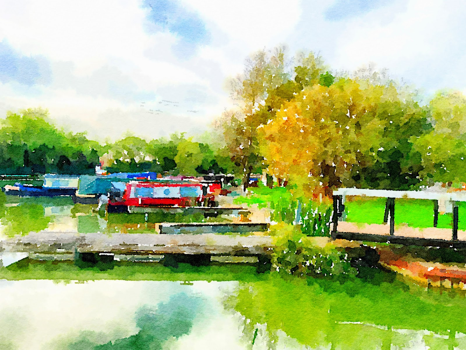 A watercolour of Gayton Marina by Paul Massey