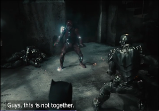 """The Flash talking to Batman and Cyborg, saying """"Guys, this is not together."""""""