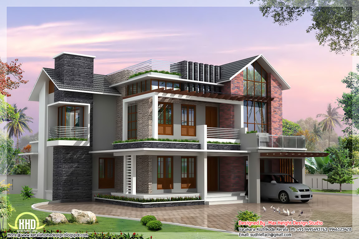 2 beautiful and different villa elevations kerala home for Villa design plan india