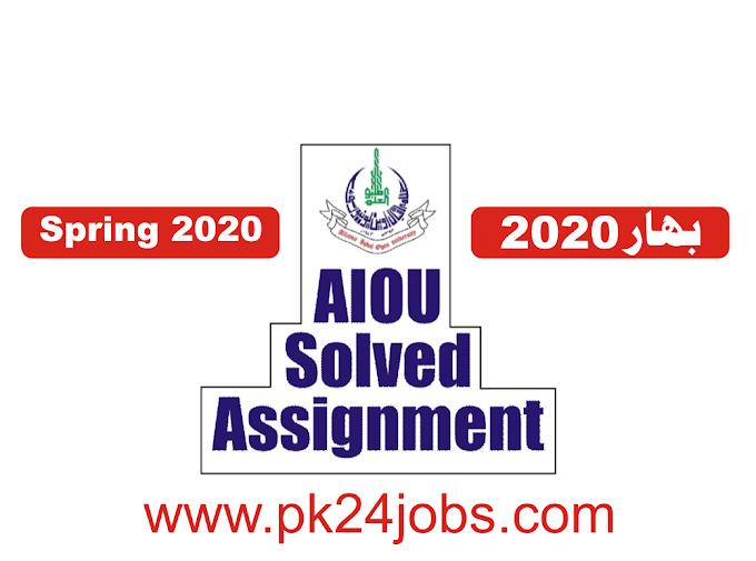 AIOU Solved Assignment 207 spring 2020 Assignment No 1