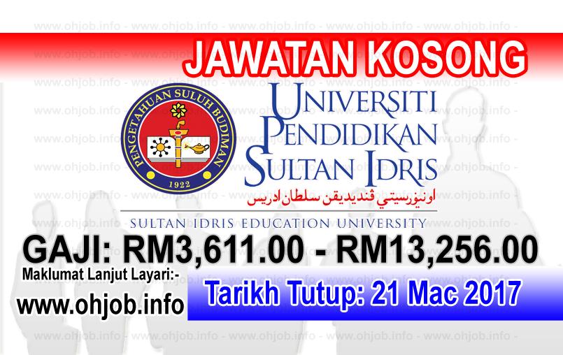 Jawatan Kerja Kosong UPSI - Universiti Pendidikan Sultan Idris logo www.ohjob.info mac 2017