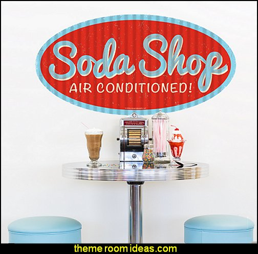 Soda Shop Fluted Look Oval Wall Decal