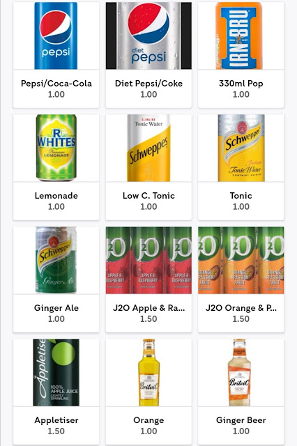 Soft drinks available at the Red Lion, Cotherstone