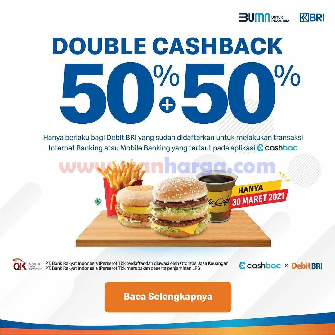 McDonalds Promo CASHBAC x DebitBRI Double Cashback 50% + 50%