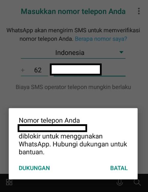 Nomor WhatsApp Terblokir