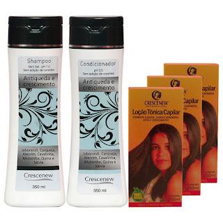Kit com 1 shampoo, 1 condicionador e 3 loções queda cabelo e crescimento crescenew