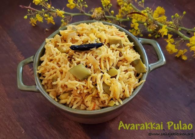 images of Avarakkai Pulao / Chikkudukaya  Pulao / Avarekalu Pulao /Broad Beans Pulao / Broad Beans Rice |
