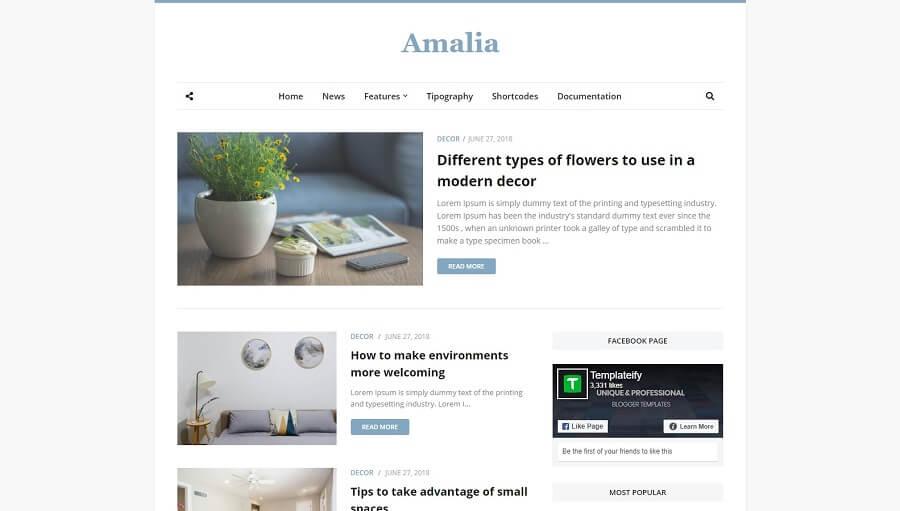 Amalia v1.0 - Responsive Blogger Template