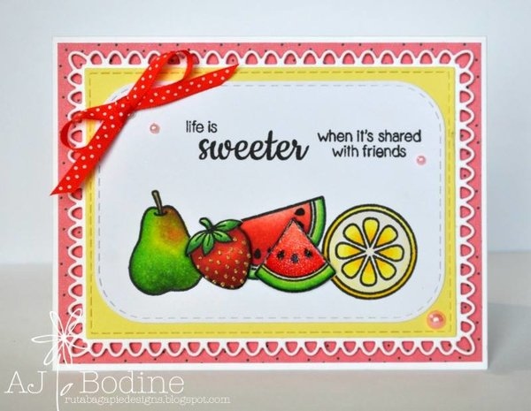 Sunny Studio Stamps: Fresh & Fruity Life Is Sweeter with Friends Card by AJ Bodine