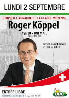 Roger Köppel donne une conférence intitulée «Stopper l'arnaque de la classe moyenne»