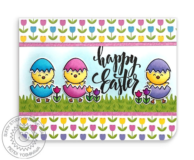 Sunny Studio Stamps: Happy Easter Chicks with Tulips and Cracked Eggs Card (using Chickie Baby Stamps & Spring Fling 6x6 Paper)