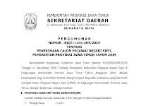 Penerimaan CPNS Pemerintah Provinsi Jawa Timur Tahun 2019
