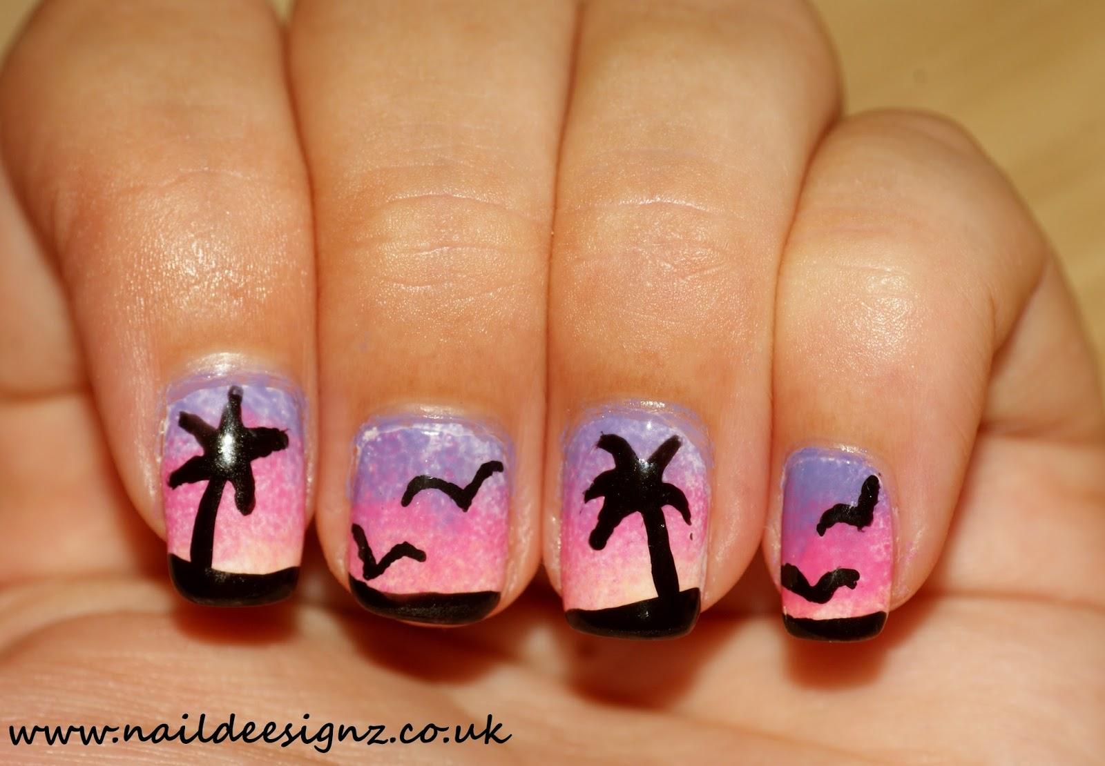 NailDeesignz: Ombre Tropical Sunset Nail Art