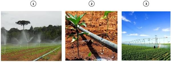 (Unichristus 2020) As imagens mostram três tipos de sistemas de irrigação.