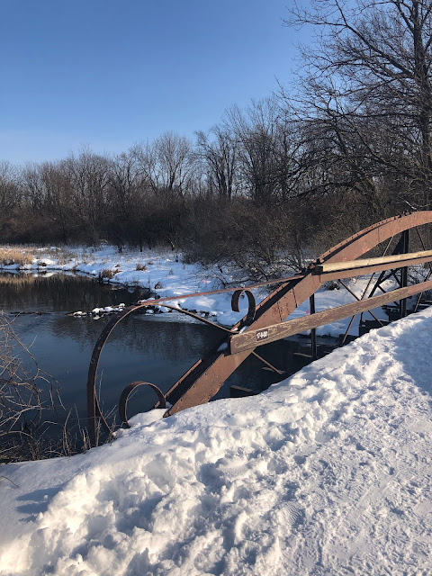 Charming bridge crossing the DuPage River at Hidden Lake Forest Preserve.