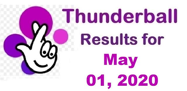 Thunderball Results for Friday, May 01, 2020
