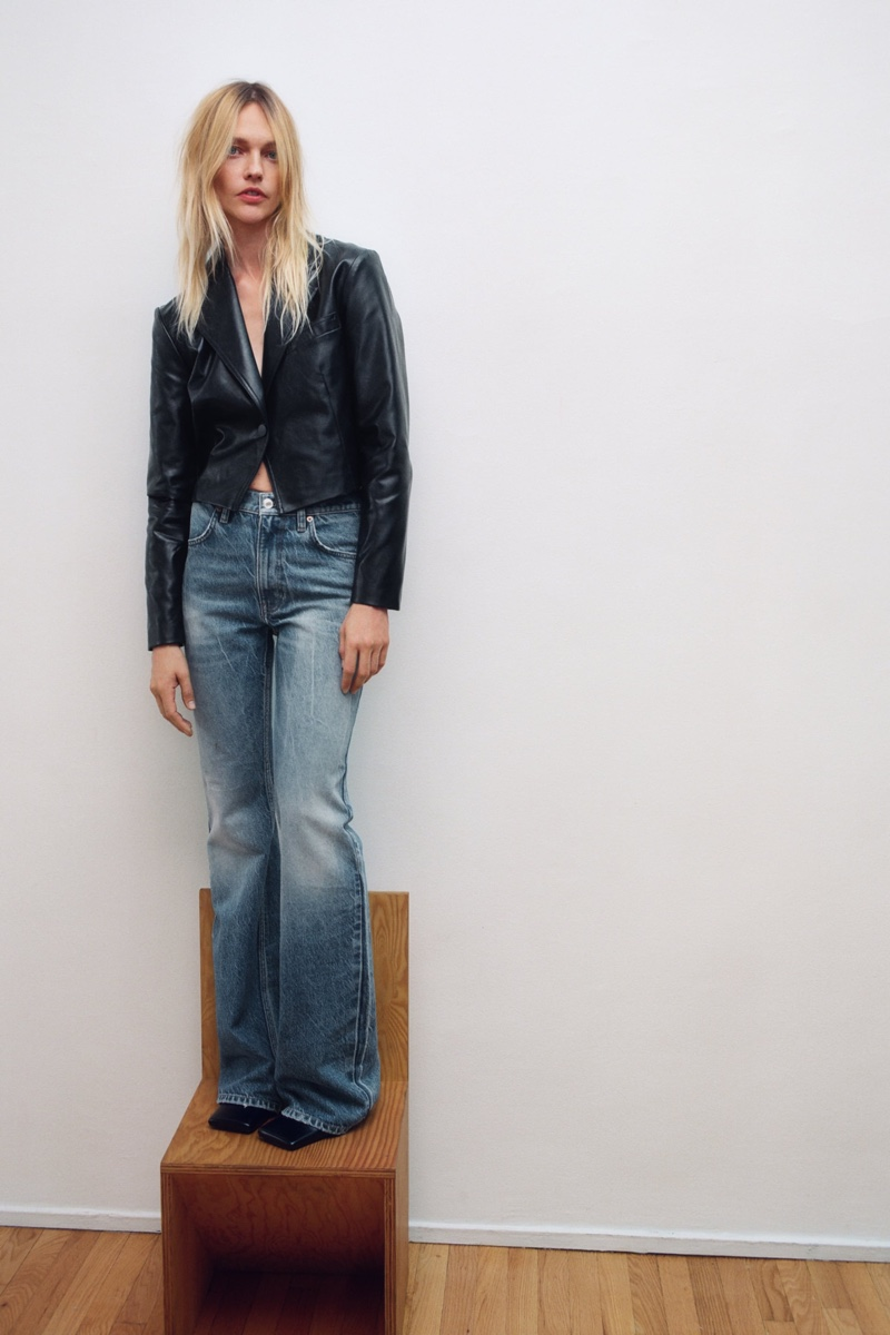 Sasha Pivovarova poses in Zara fall-winter 2020 styles.