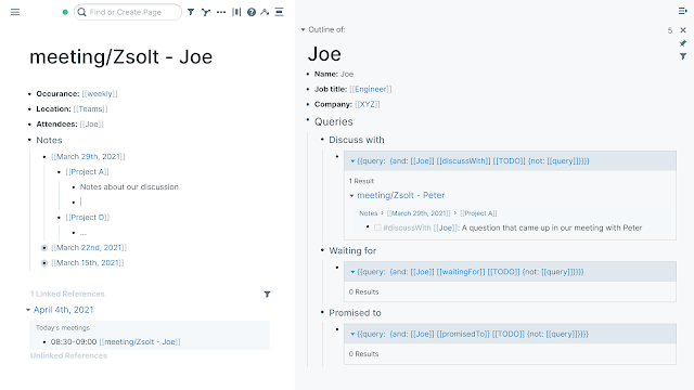 Joes meeting minutes and personal page