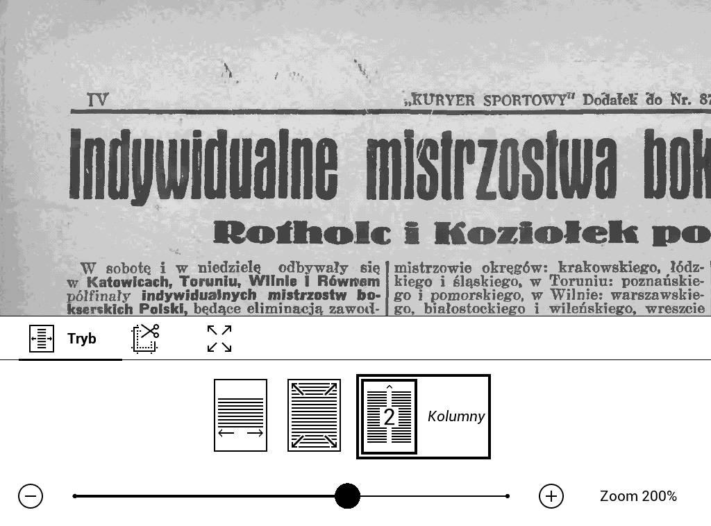 PocketBook Basic Lux 2 – tryb kolumnowy zastosowany w parze z obróceniem tekstu
