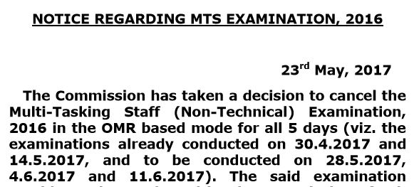 [Notice]: SSC MTS Exam Officially Cancelled For All 5 Days- SSCOfficer