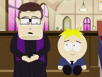 Butters di South Park con il suo inseparabile amico sacerdote