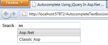 Autocomplete Textbox Using jQuery In Asp Net and C# Net « Asp Net