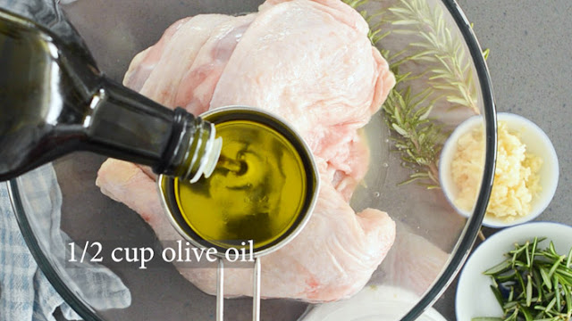 olive oil, lemon and chicken pieces