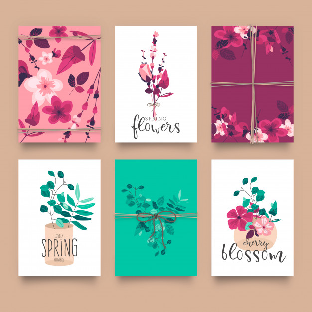 Cute floral card templates Free Vector