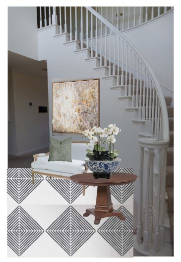 CAD Interiors e-design online interior design decorating entryway transitional decor accessories styling before photos rendering modern traditional tile stencil paint
