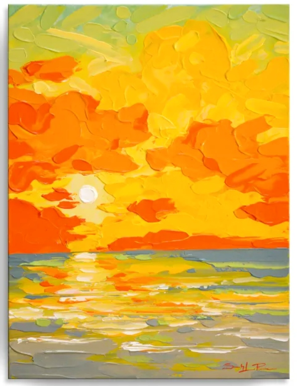 Sunset Ocean Beach Art Orange