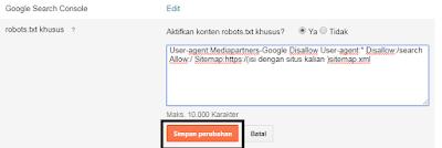 Atasi Masalah  Diindeks,meski diblokir oleh robbots.txt