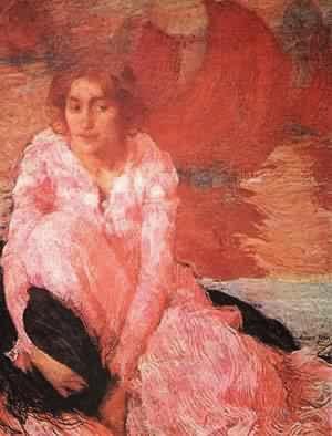 Manina com Vestido Rosa - Edmond Aman-Jean e suas principais pinturas  ~ Art Nouveau