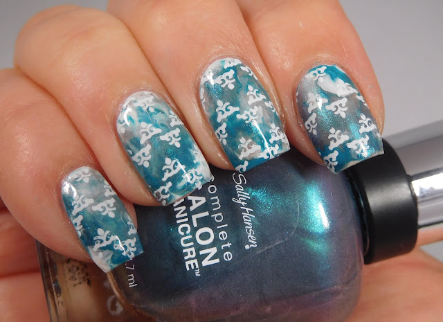 Sally Hansen Teal Good, Reflection Pool, and Black and Blue, stamped with UCB 18-03 and Messy Mansion Chalk