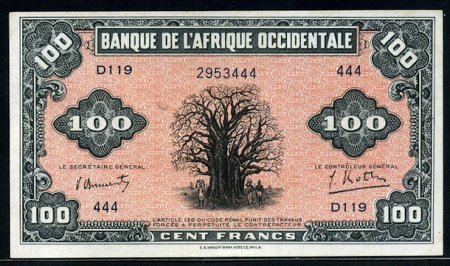 money currency 100 French West African Francs banknote