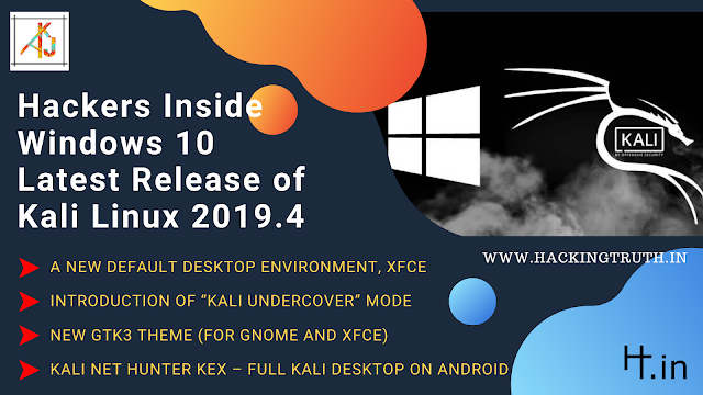 latest version of kali linux 2019.4 under cover mode