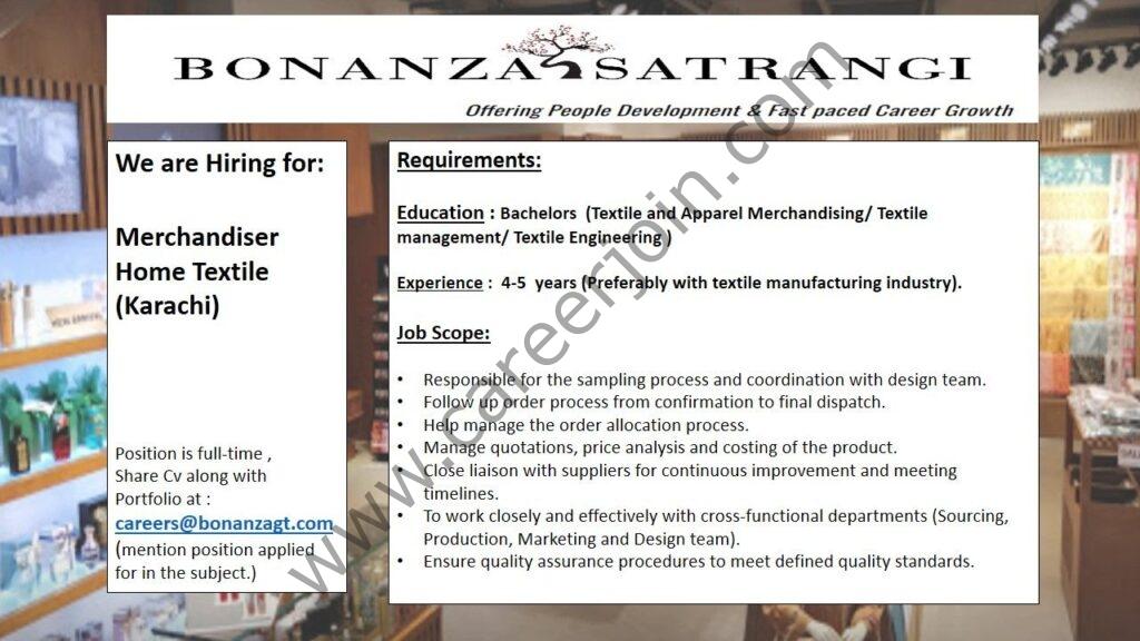 careers@bonanzagt.com - Bonanza Garments Industries Pvt Ltd Jobs 2021 in Pakistan