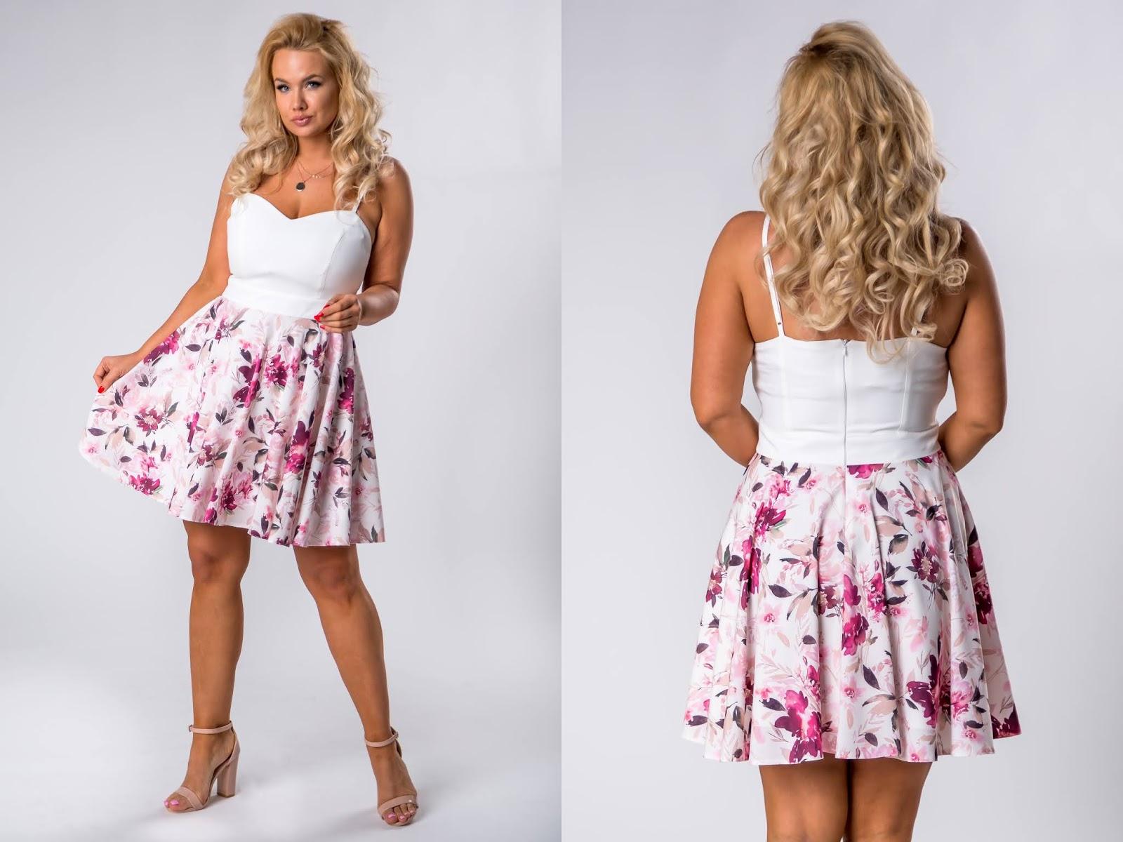 Koktajlowa sukienka na ramiączkach z wzorzystą spódnicą ptakmoda.com