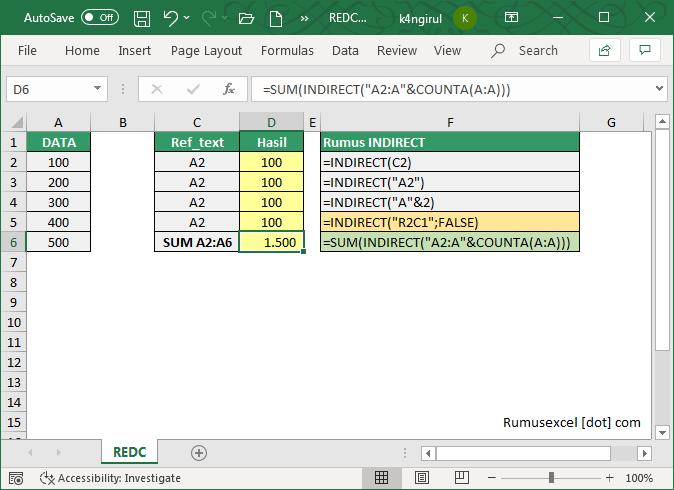 Fungsi INDIRECT Pada Excel