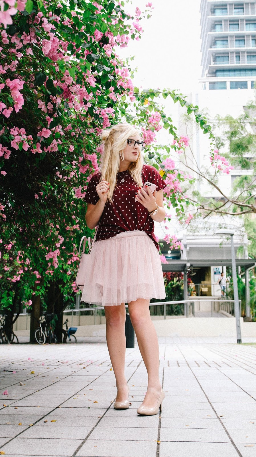 Heart printed top and pink tulle for Valentines Day by GlobalFashionGal (Brianna Degaston)